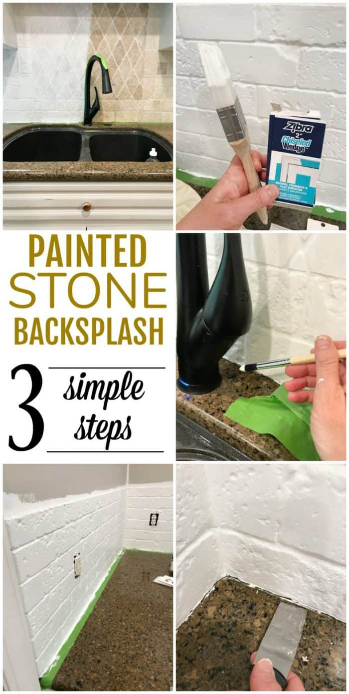 Painted stone backsplash tutorial