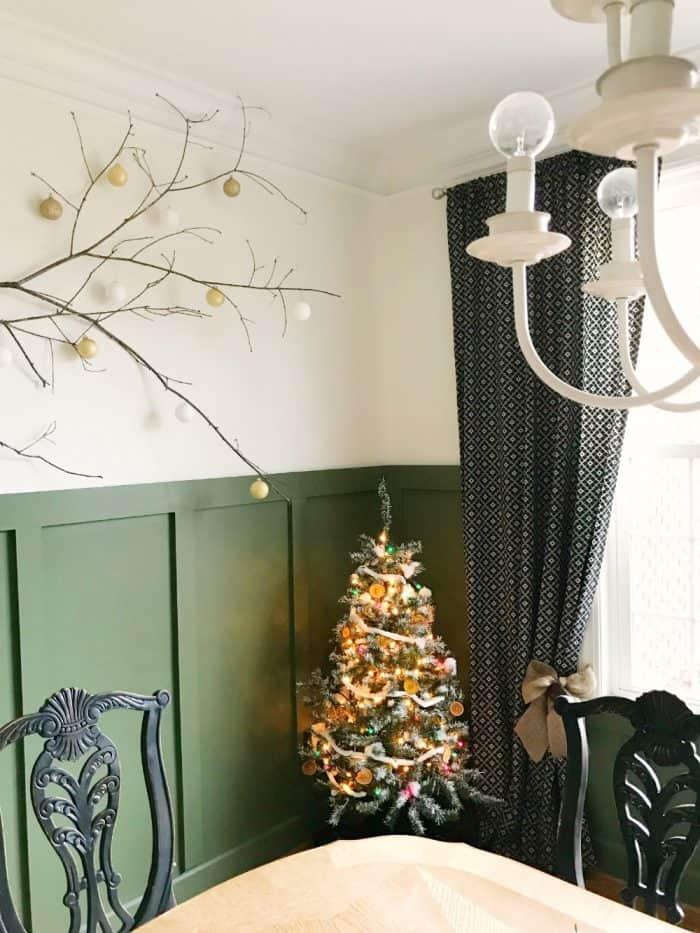 Branch wall art and Christmas decor