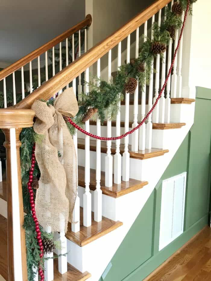 Faux greenery stair garland