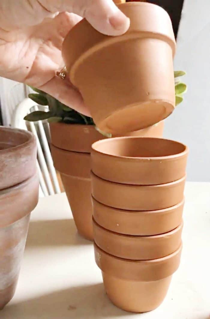 Small terra cotta pots for paint project