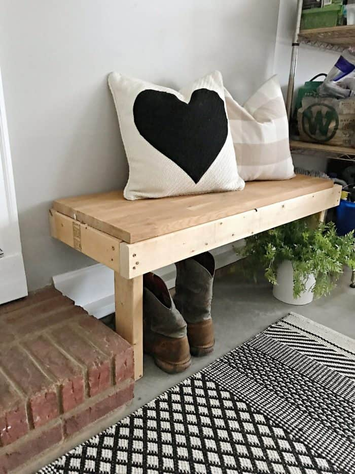 DIY wood garage wall bench