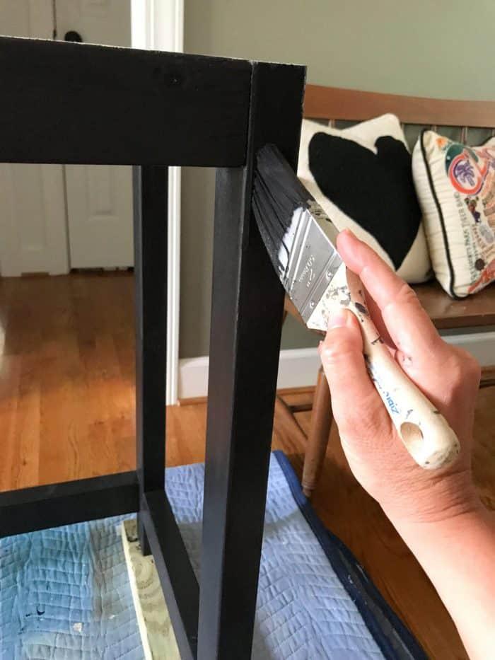 painted desk legs to look like metal