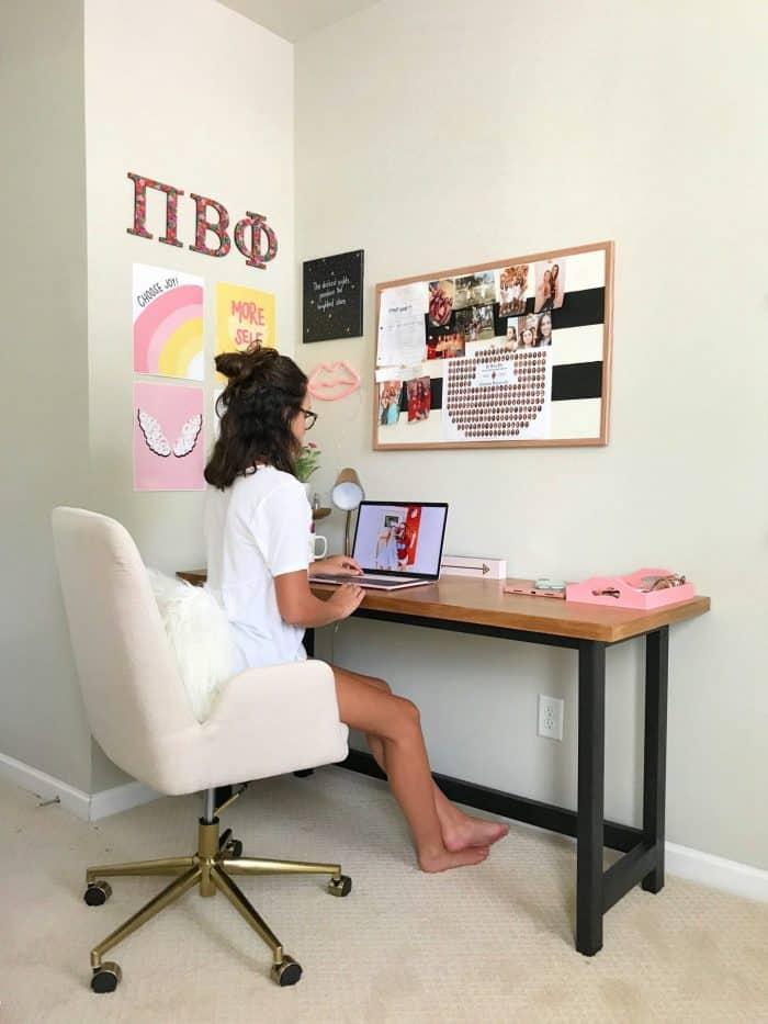 wood desk build in college apartment