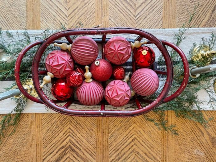 Vintage basket and Christmas ornaments