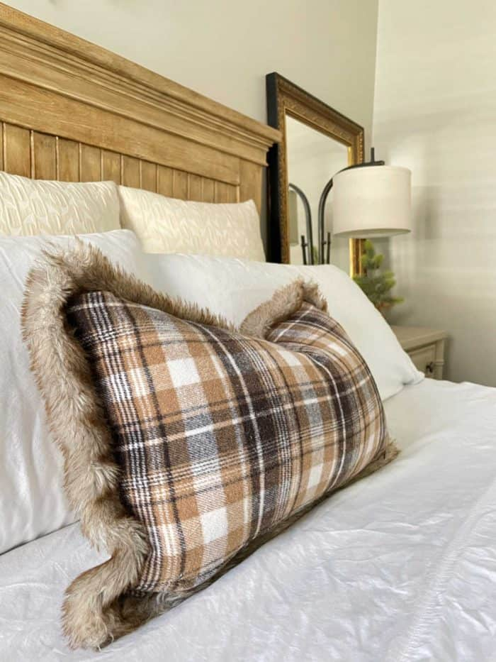 Christmas Master Bed Brown and evergreen decor