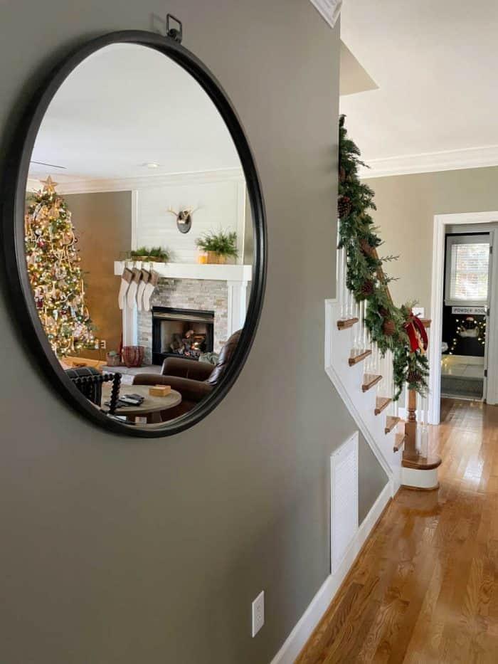 Round Mirror Christmas tree reflection