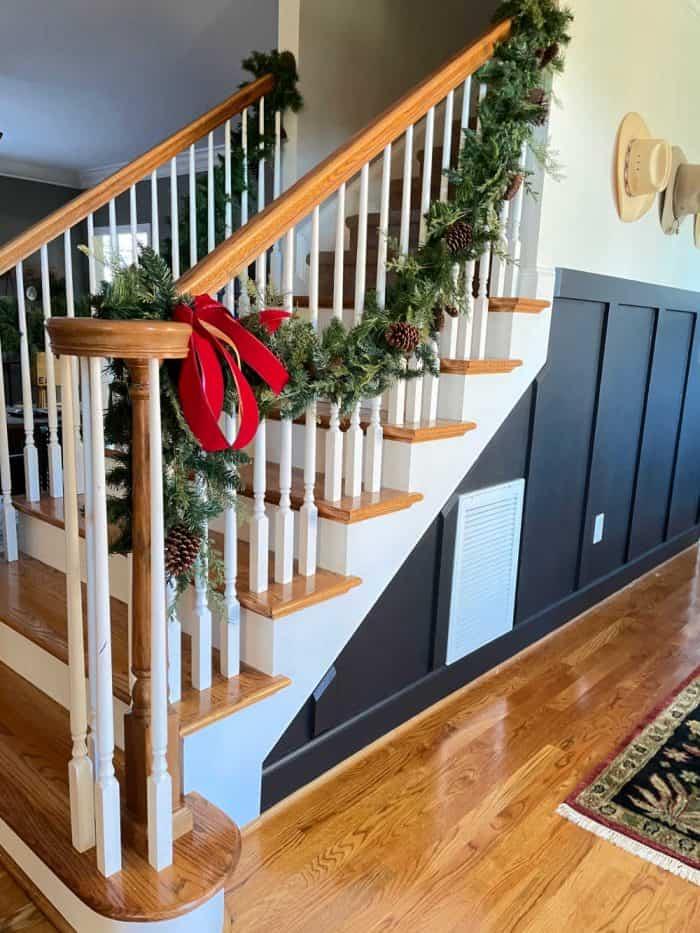 Stair faux garland