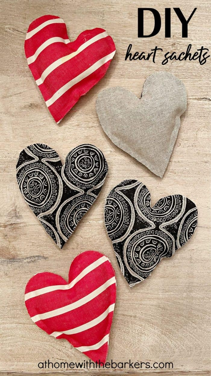 DIY heart sachets with essential oil