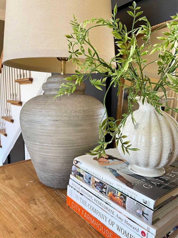 DIY faux concrete look painted pottery lamp