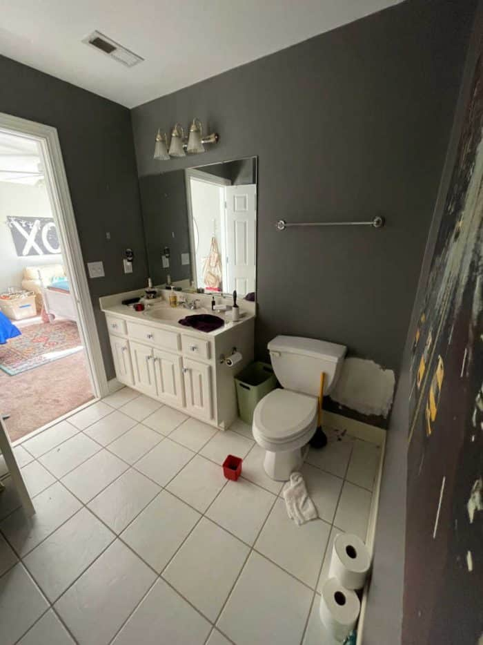 Bathroom makeover with white and mauve