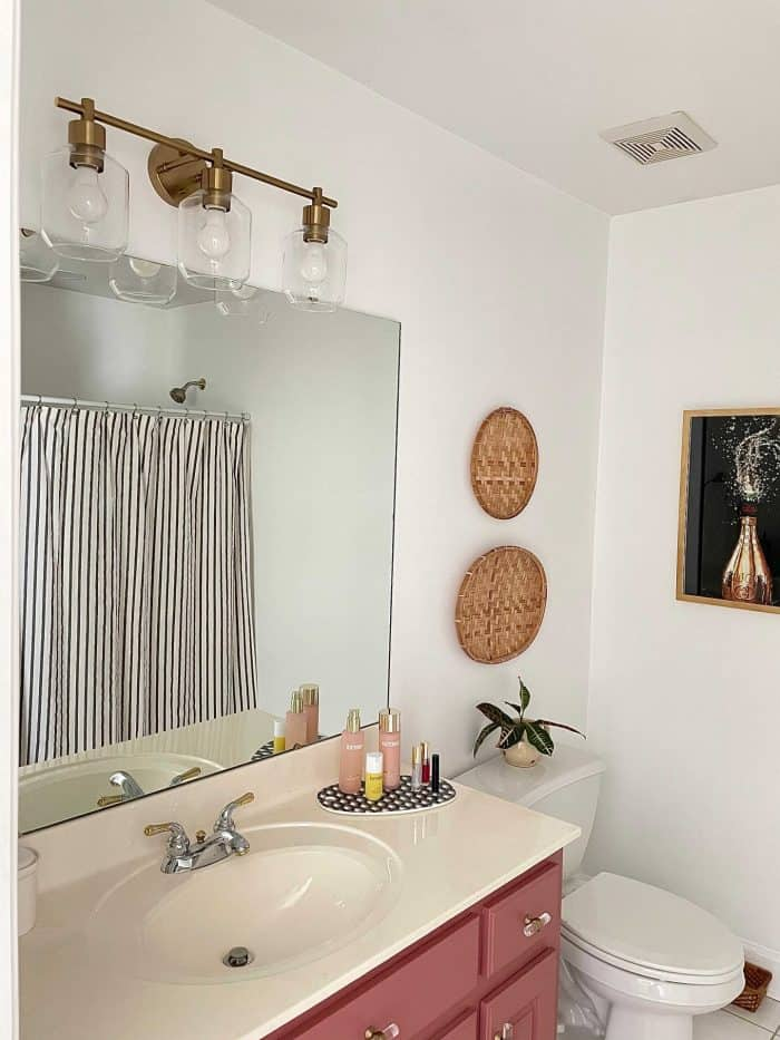 mauve aesthetic bathroom makeover after