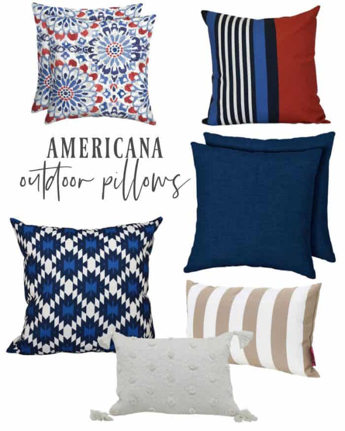Outdoor throw pillows red white and blue