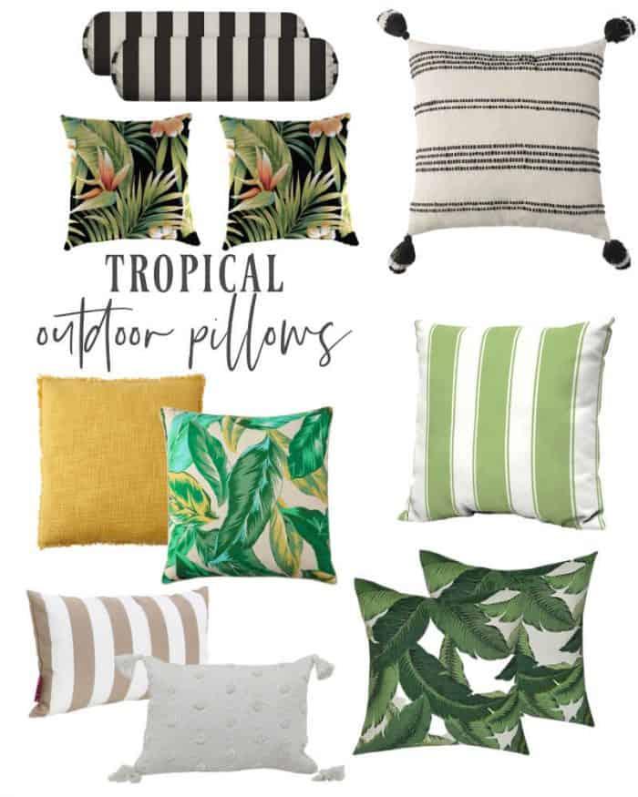Outdoor throw pillows tropical