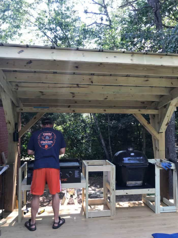 DIY Outdoor Kitchen adding the griddle