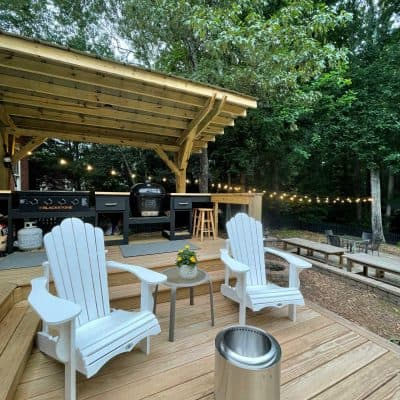 DIY Outdoor Kitchen backdoor view