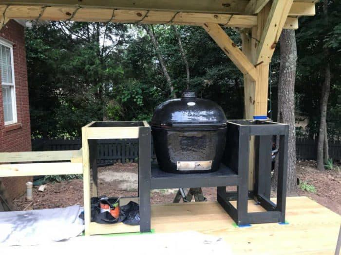 DIY Outdoor Kitchen black stain
