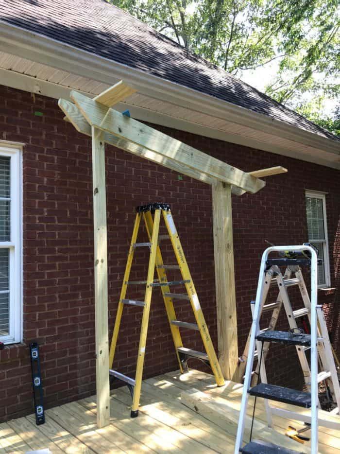 DIY Outdoor Kitchen building roof