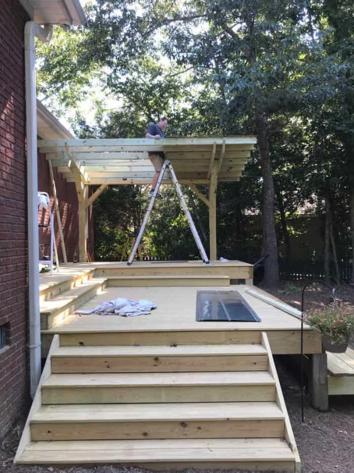 DIY Outdoor Kitchen tin roof