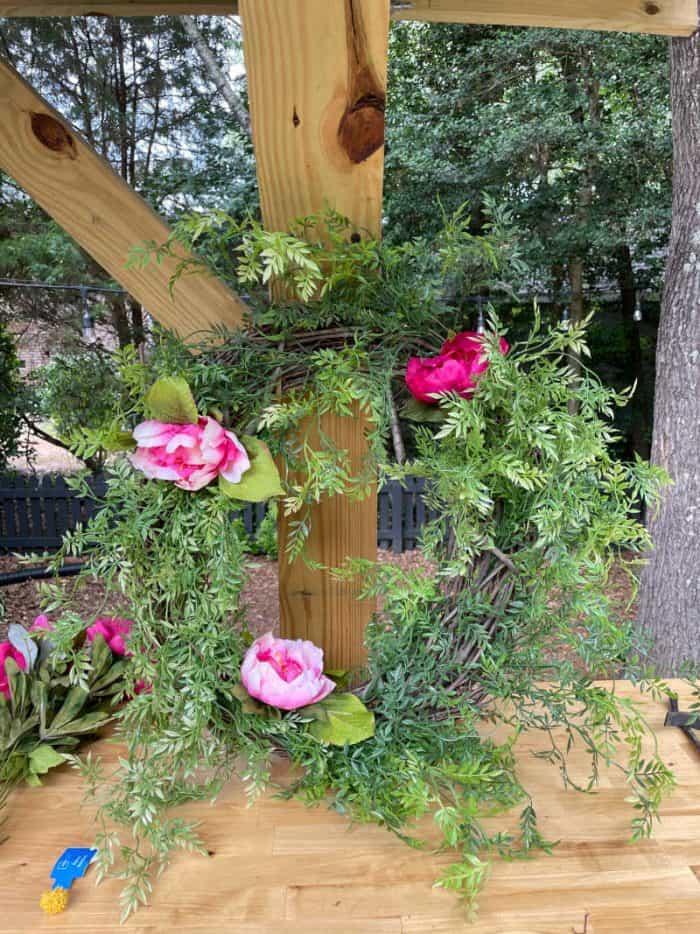 DIY summer peony grapevine wreath