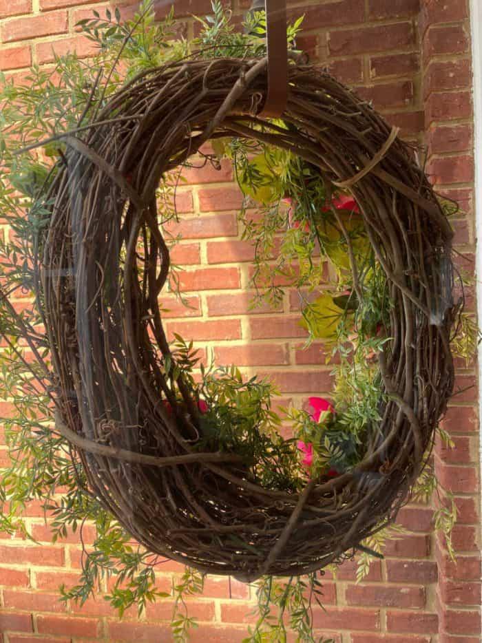 Grapevine wreath through storm door