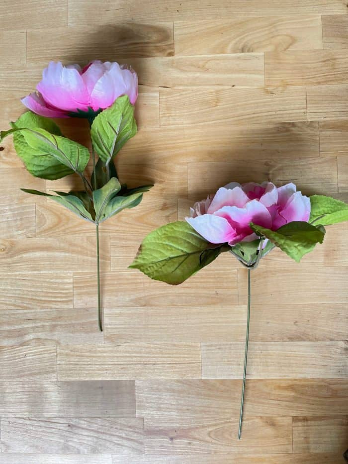 Faux peony flowers for wreath