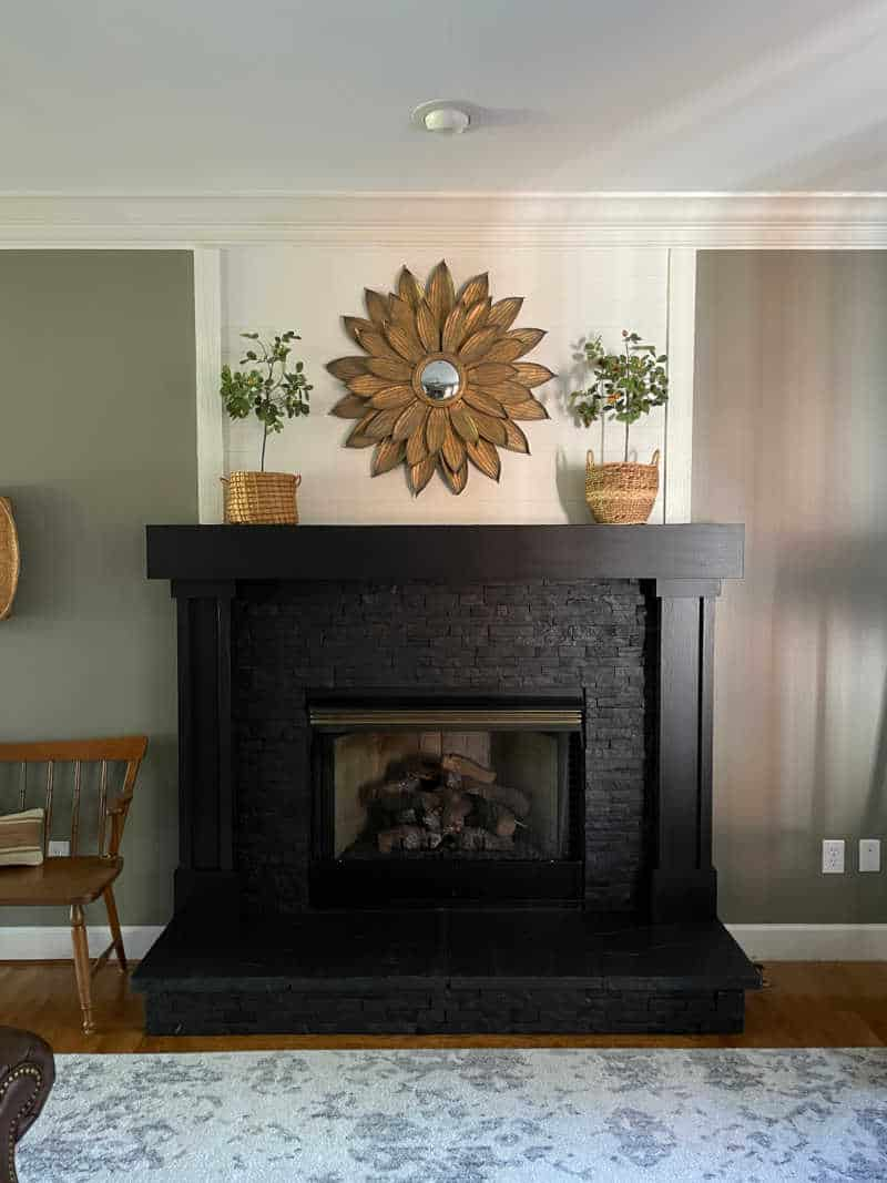 Fireplace painted stone DIY makeover
