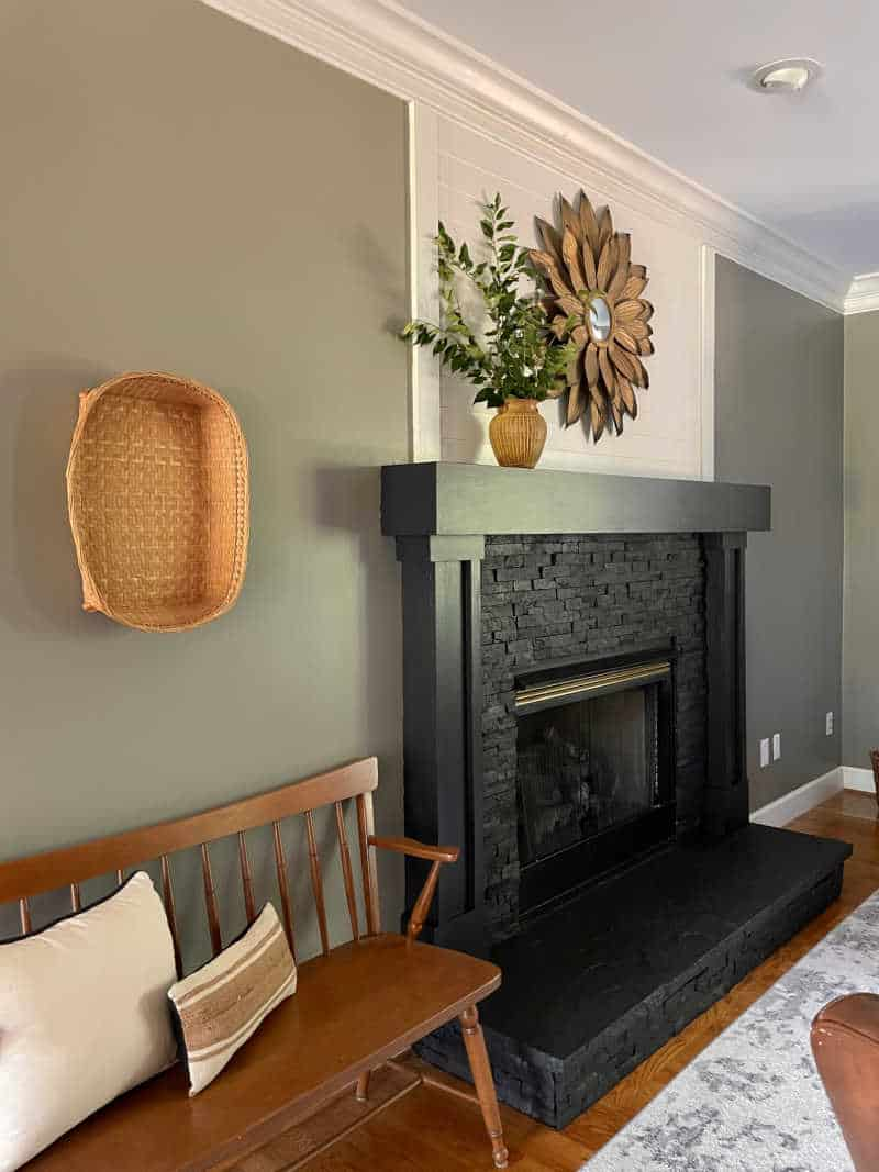 living room fireplace makeover with painted tile