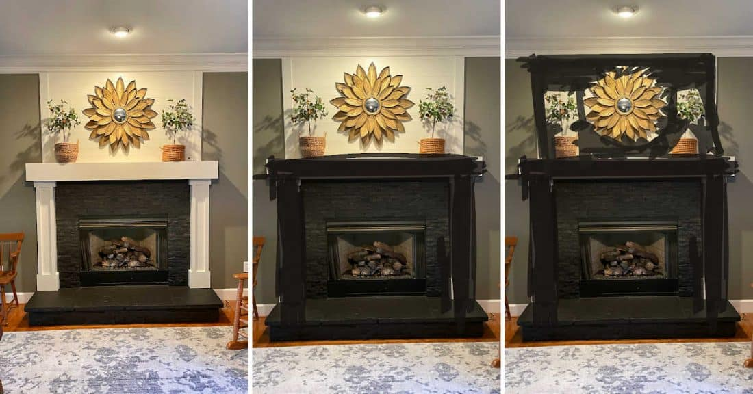 3 way mock up of fireplace makeover